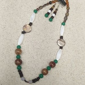 Natural elements boho bead necklace set
